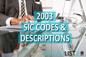 2003 SIC Codes & Descriptions