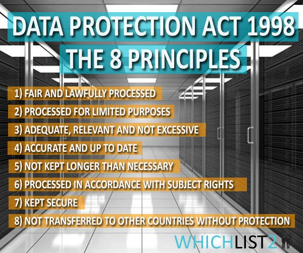 Data Protection Act 1998 - The 8 Principles